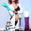 Science Student in Sexy Clothing Experimenting — Stock Photo #20105611
