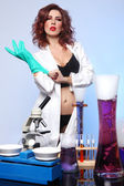 Science Student in Sexy Clothing Experimenting — Stock Photo