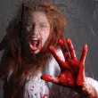 Horror Themed Image With Bleeding Freightened Woman — Stock Photo #23722233