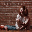 Horror Themed Image With Bleeding Freightened Woman — Stock Photo #23722247