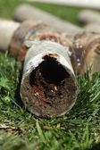 Corroded and Blocked Steel Household Pipes — Stock Photo