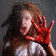 Horror Themed Image With Bleeding Freightened Woman — Stock Photo #28030615