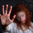 Horror Themed Image With Bleeding Freightened Woman — Stock Photo #28030623