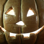 Halloween Pumpkin on Wood Grunge Rustick Background — Stock Photo