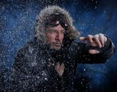 Man Freezing in Cold Weather — Stock Photo