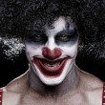 Spooky Clown Portrait on Black Background — Stock Photo