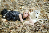Lovely Woman Posing With a Wolf  — Stock Photo