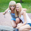 Two beautiful young girl friends with a photo camera - Stock Photo