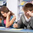 Student cheating at test exam — Stock Photo