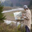 Stock Photo: Young artist painting landscape