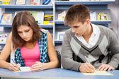 Student cheating at test exam — Stock Photo