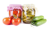 Canned vegetables isolated on white background — Stock Photo