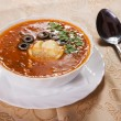 Russian traditional red soup - Stock Photo