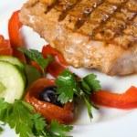 Pork steak closeup photo — Stock Photo