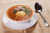 Russian traditional red soup — Stock Photo