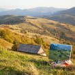 Стоковое фото: Mountain landscape with painting on foreground