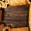 Bread assortment on a wooden table — Stock Photo