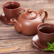 Tea with mint on a wooden table — Stockfoto #20953555
