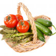 Basket of home grown vegetables - Stockfoto