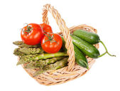 Basket of home grown vegetables — Stock Photo