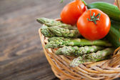 Fresh vegetables on a wooden table — Stockfoto