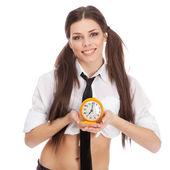 Mujer con un traje de colegiala — Foto de Stock