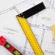 Stock Photo: Construction tools on a blueprint