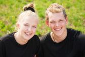 Two cheerful teenagers — Stock Photo