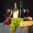 Wine, grapes and cheese — Stock Photo #29571431