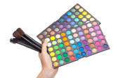 Female hand holding a makeup palette — Stock Photo