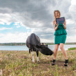 Young woman and a cow — Stock Photo #31194885