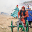 Stock Photo: OLSZTYN, POLAND - AUG 11: Reconstruction of medieval wars at the Olsztyn castle on August 11, 2013