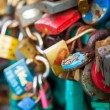 Lots of locks on a bridge — Foto Stock