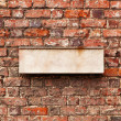 Blank space for sign on a brick wall — Stock Photo
