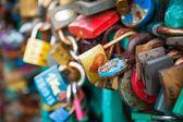 Lots of locks on a bridge — Stock Photo