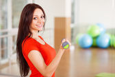 Young fit lady with dumbbells — Stock Photo