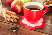 Spiced tea with cinnamon and apples — ストック写真