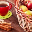 Spiced tea with cinnamon and apples — Stock Photo