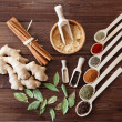 Spice assortment on a wooden table — Stock Photo
