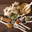 Spice assortment on a wooden table — Foto de Stock