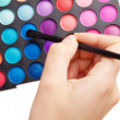 Female hand holding a makeup palette — Stockfoto
