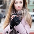 Gorgeous blonde in the street — Stock Photo