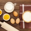 Eggs, milk and flour — Stock Photo