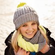 Pretty young woman in winter clothes — Foto Stock