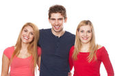 Three young people on white background — Stok fotoğraf