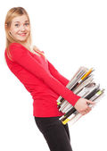 Student girl with a pile of heavy books — Stock Photo