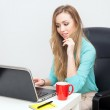 Young blond woman working with a laptop — Stock Photo