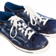 Blue sneakers on white background — Stock Photo