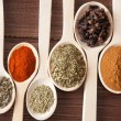 Spice assortment in wooden spoons — Stock Photo