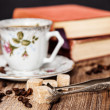 Vintage coffee cup on a wooden table — ストック写真 #48133663